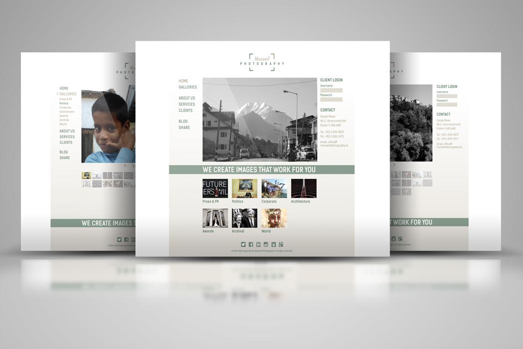 Entwurf Webseite für Maxwell Photography Dublin