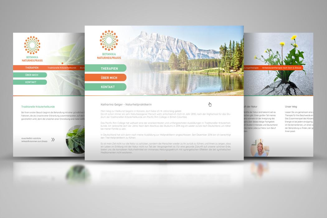 Gestaltung der Webseite für eine Naturheilpraxis